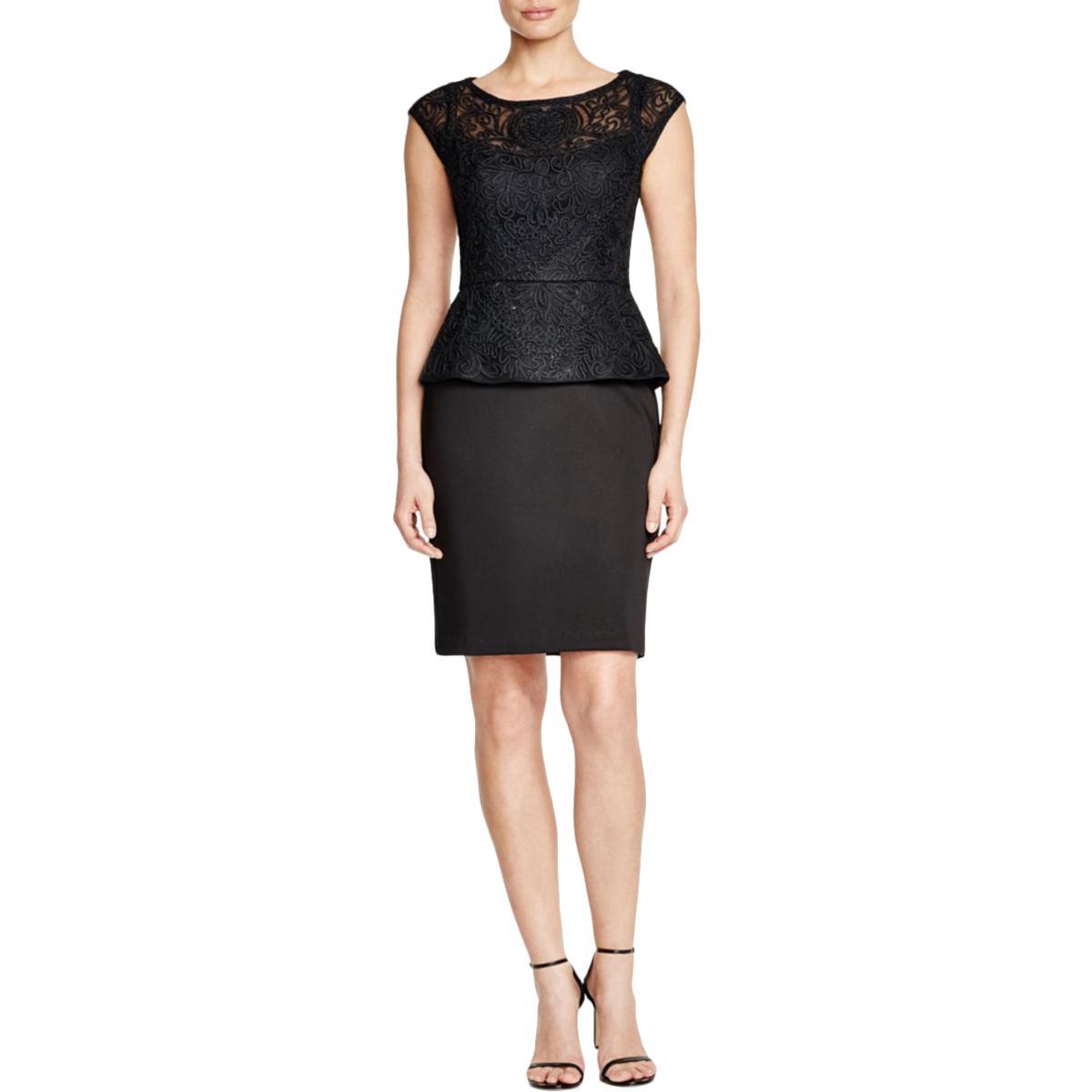 89c9dda9e07 Details about Sue Wong Womens Black Peplum Lace Bateau Neck Cocktail Dress  6 BHFO 5140