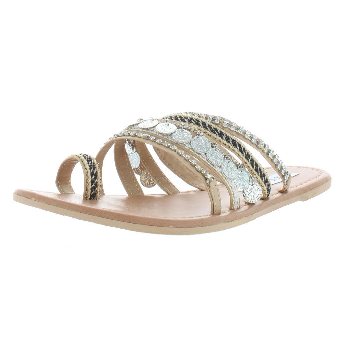 fbc771573 Steve Madden Womens Carmela Toe Loop Slide Embellished Flats Sandals ...