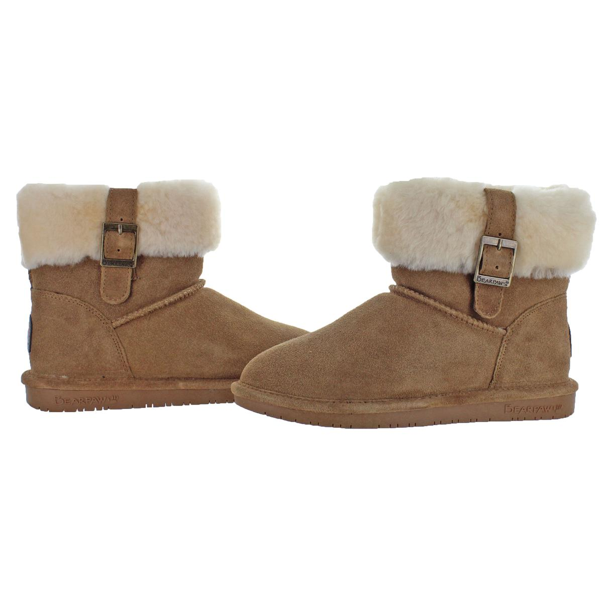 Bearpaw-Abby-Women-039-s-Suede-Foldover-Sheepskin-Lined-Mid-Calf-Boots
