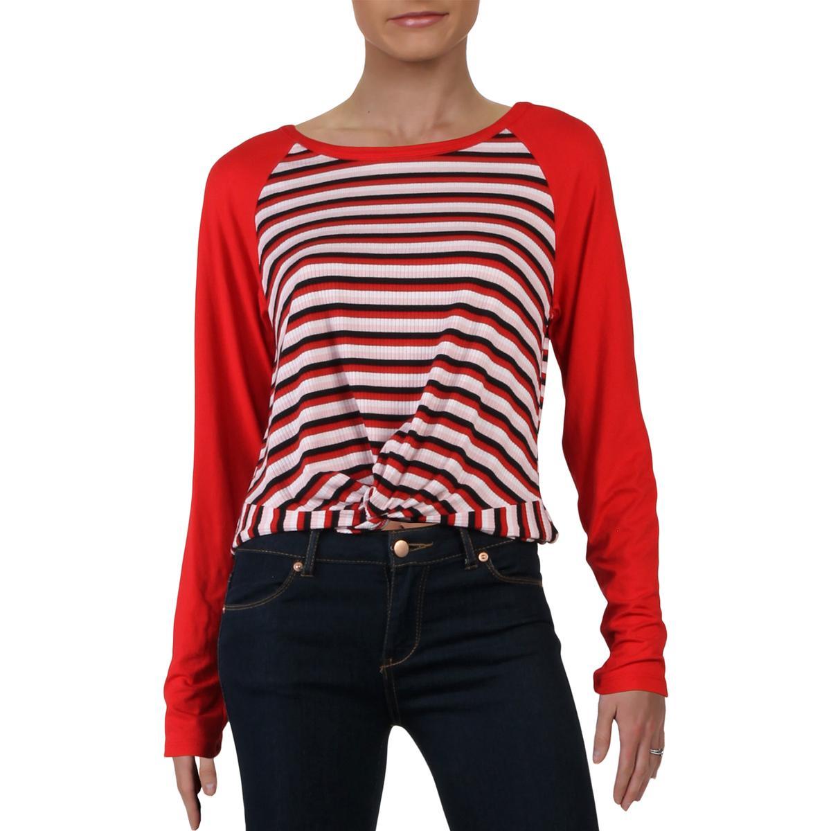 Ultra Flirt Womens Red Crop Striped Pullover Top Shirt Juniors S BHFO 2315