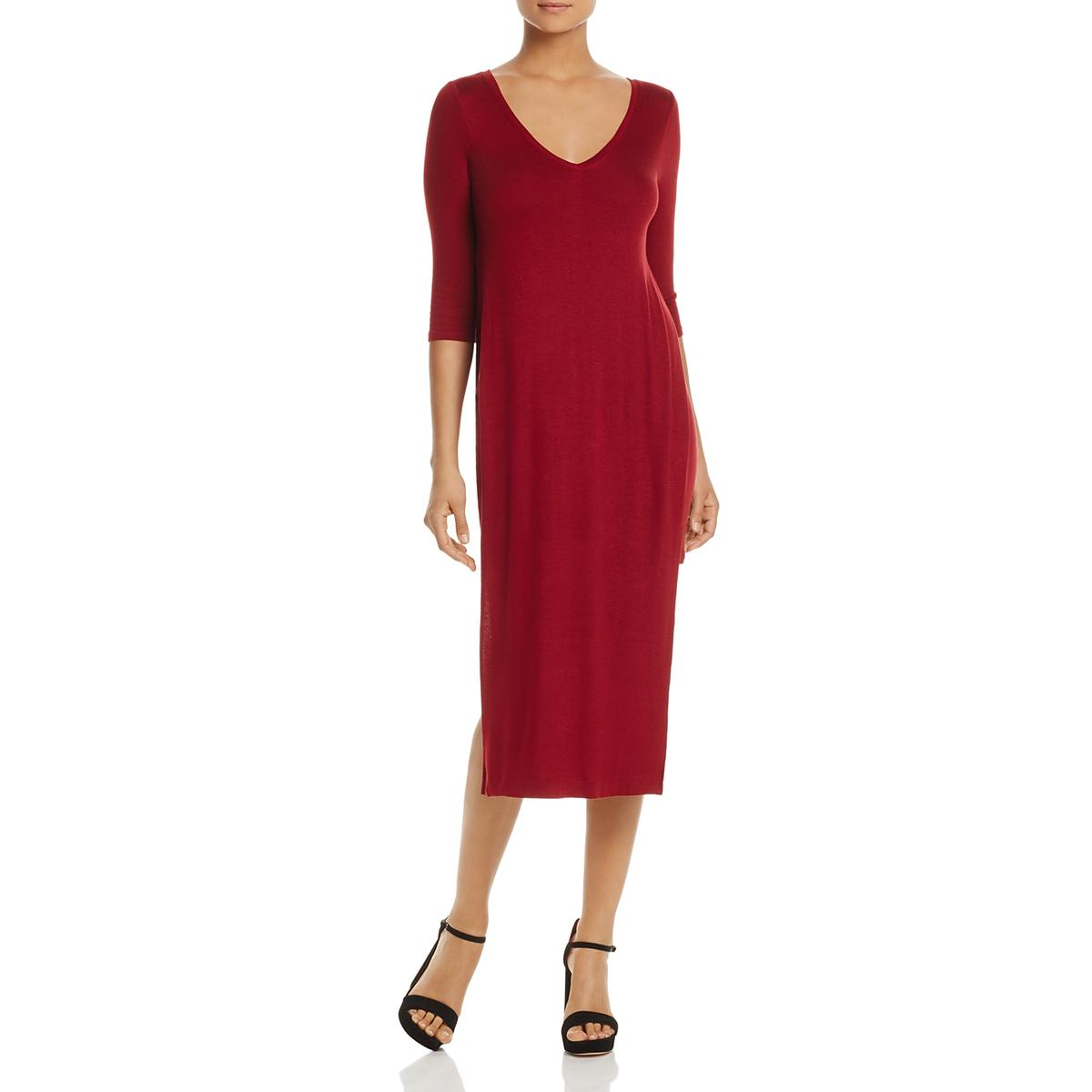 f5d234a4a951 Details about Three Dots Womens V Neck Sheath Midi T-Shirt Dress BHFO 3863