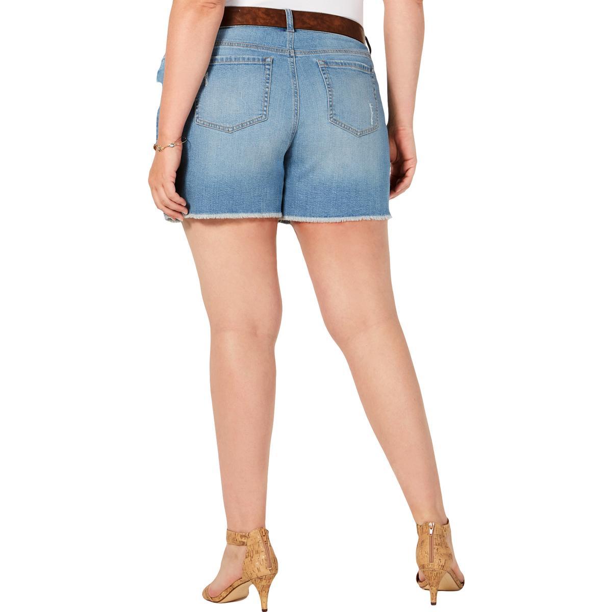 Womens Mid Rise Bermuda Dark Wash Denim Shorts Plus BHFO 0292 Style /& Co