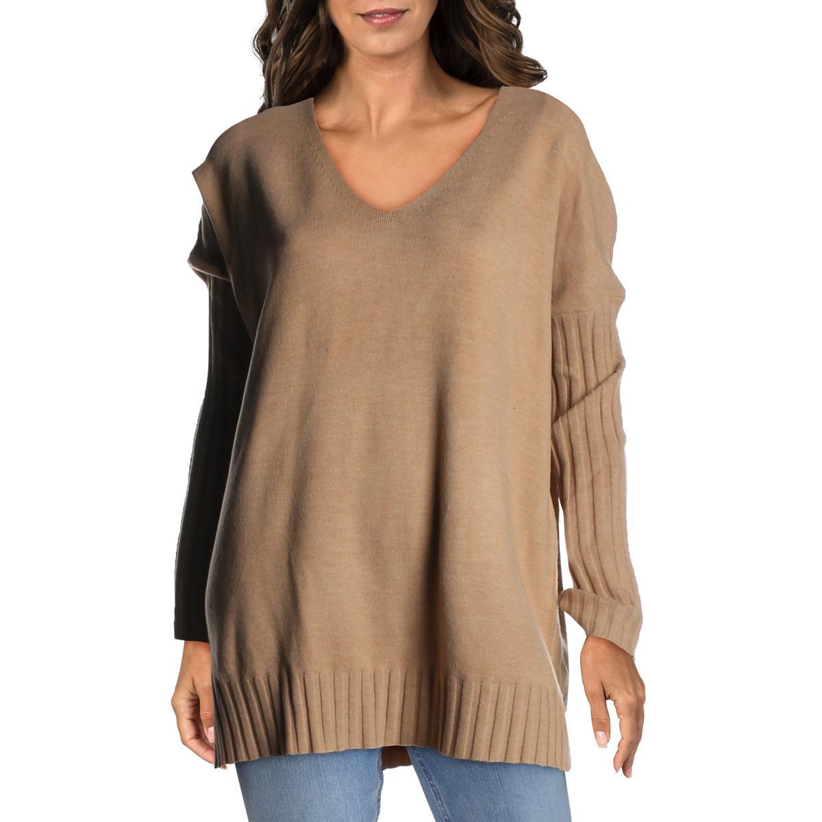 INC Womens Tie-Dye V-Neck Slub Knit Pullover Sweater Plus BHFO 1340