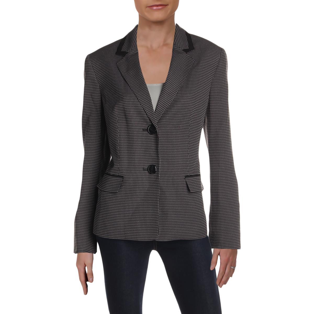 Le Suit Womens B/W Office Wear Business Two-Button Blazer Ja