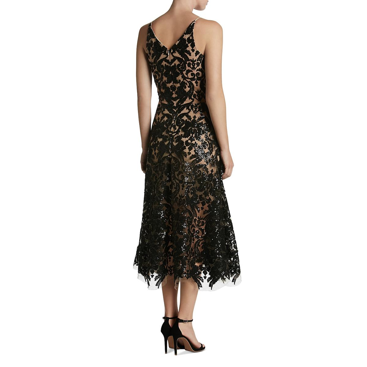 Betsy & Adam Womens Black Lace Evening Dress Gown Petites