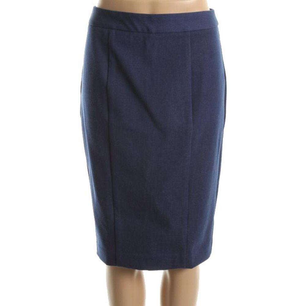 catalog denim seamed knee length pencil skirt