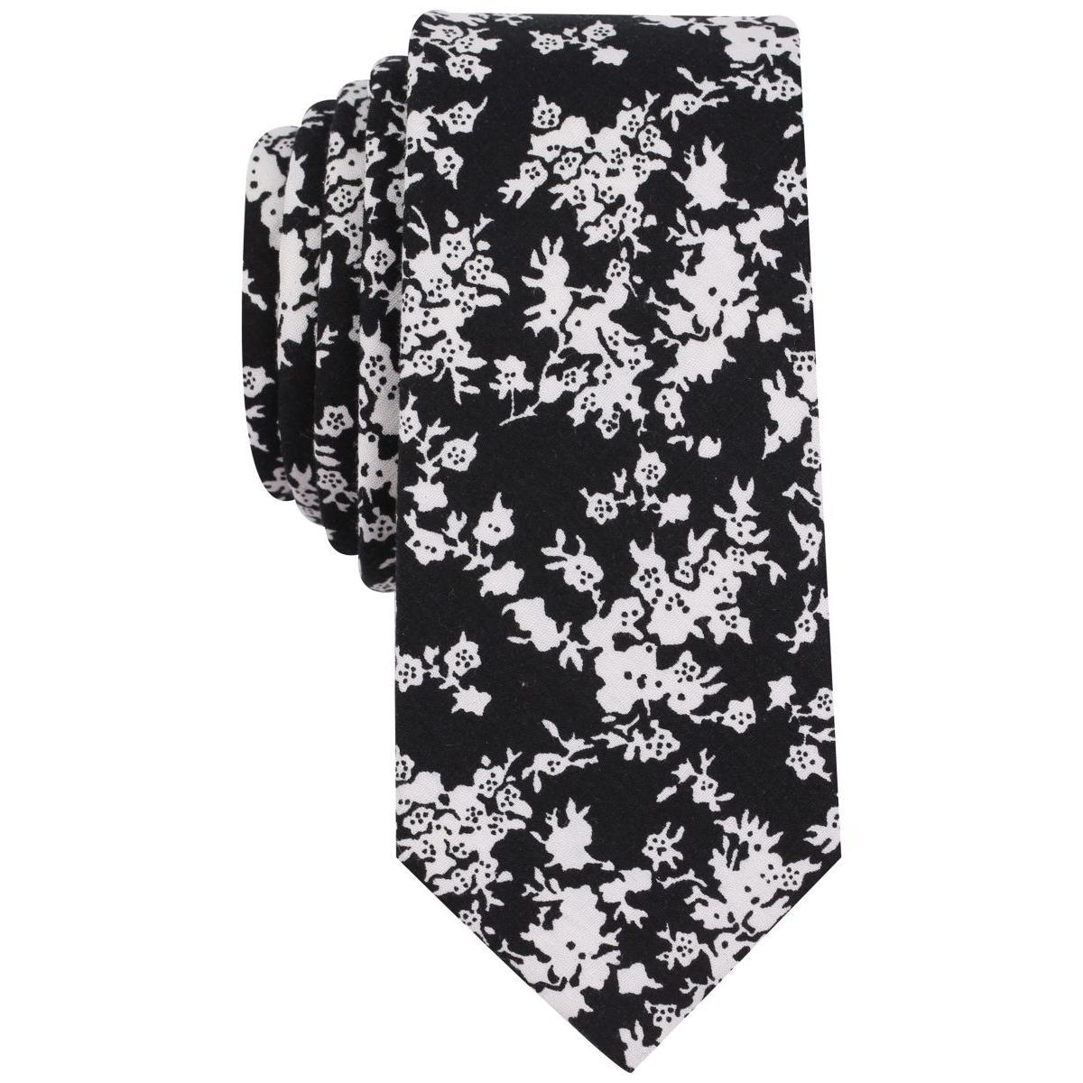 b16bf0703b Details about Bar III Mens Jasmine B W Cotton Floral Print Skinny Neck Tie  O S BHFO 1151