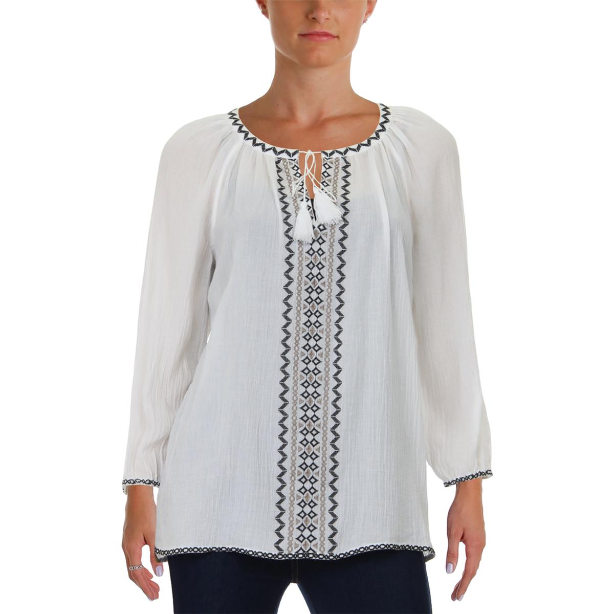 92d8c0fc7d8 NYDJ Womens White Embroidered Keyhole Pleated Peasant Top Blouse XS BHFO  7764. About this product. Picture 1 of 4  Picture 2 of 4  Picture 3 of 4 ...