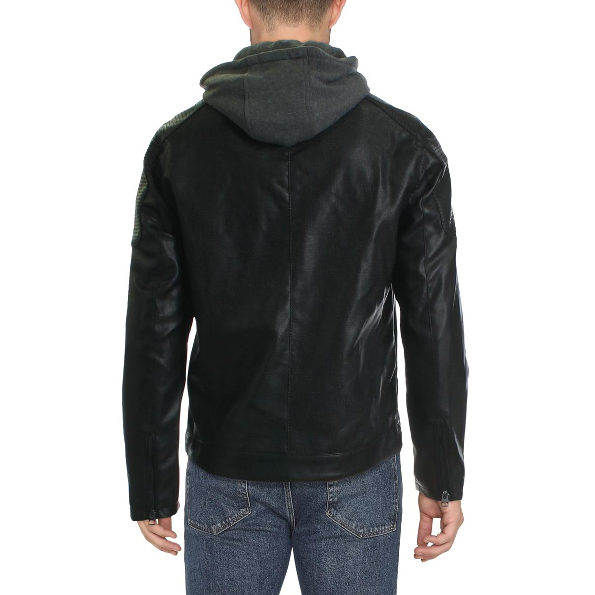 Guess Mens Faux Leather Bomber Hooded Motorcycle Jacket ...
