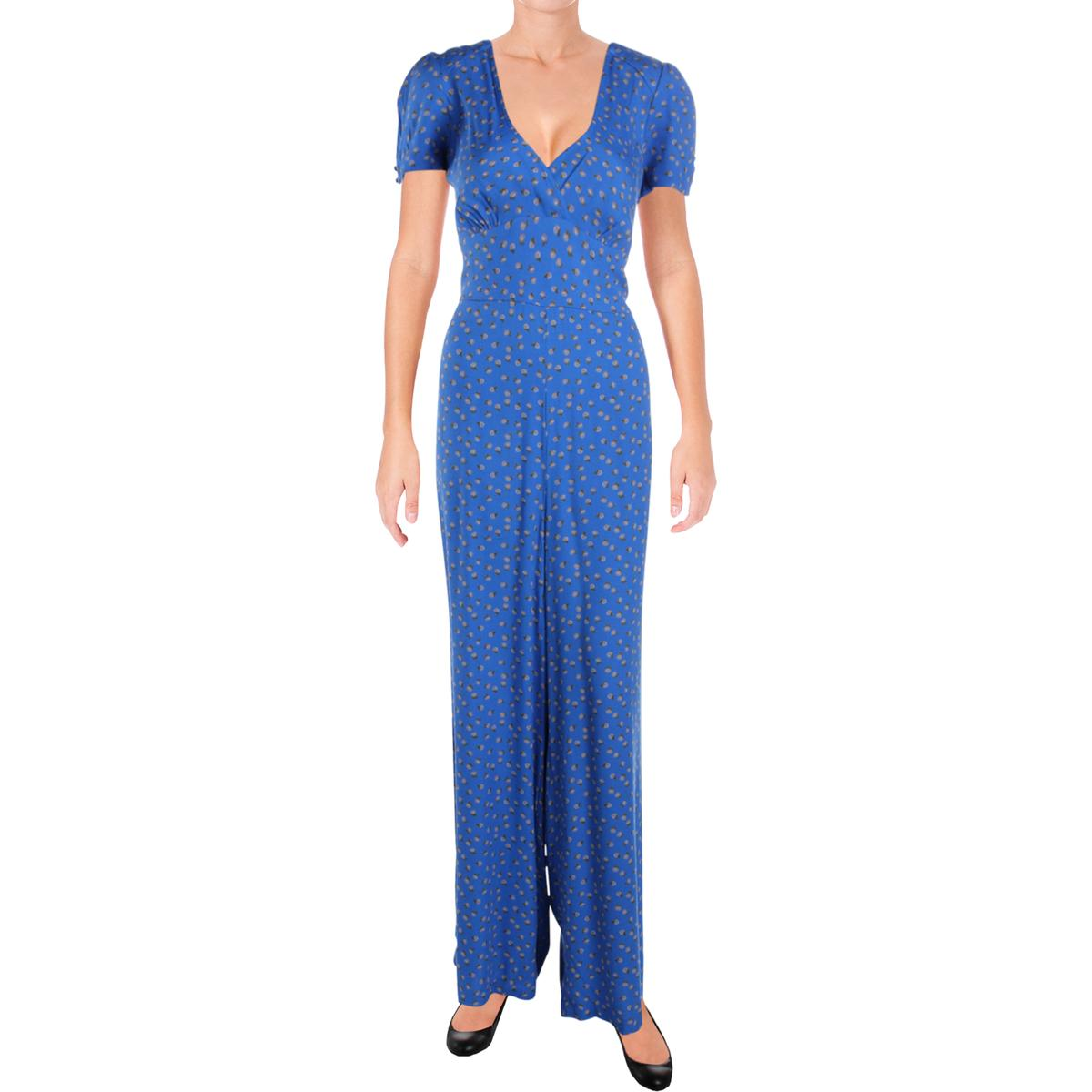 e6fcacc0db56 Details about Free People Womens Mia Blue Empire Waist Wide Leg Jumpsuit 2  BHFO 9240