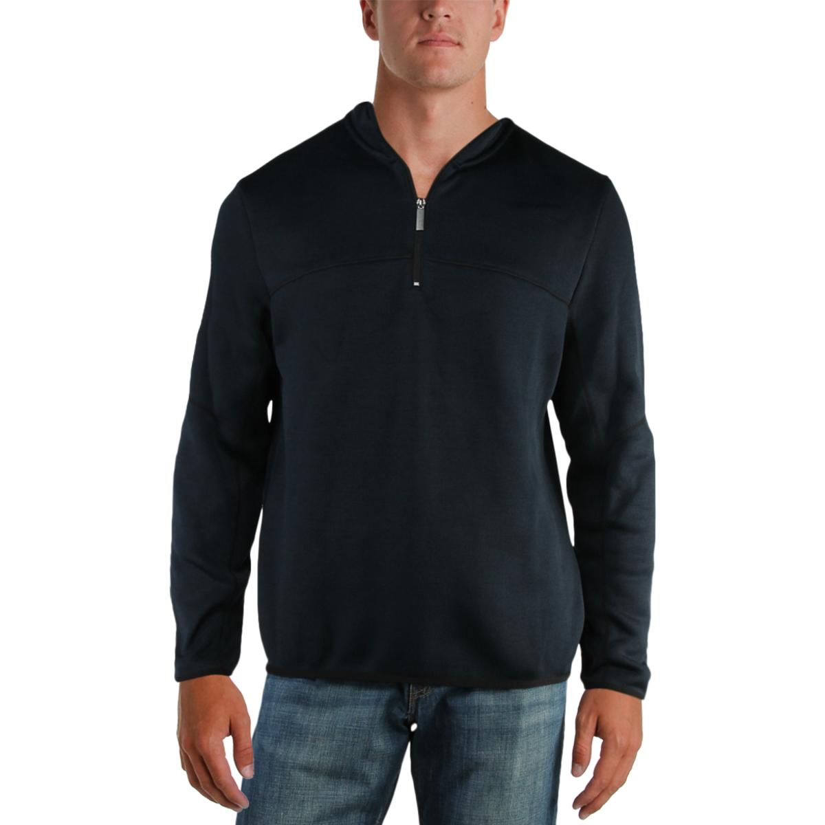 84094cd286 Details about Perry Ellis Mens Mock Neck Knit 1 4 Zip Pullover Sweater Top  BHFO 7314