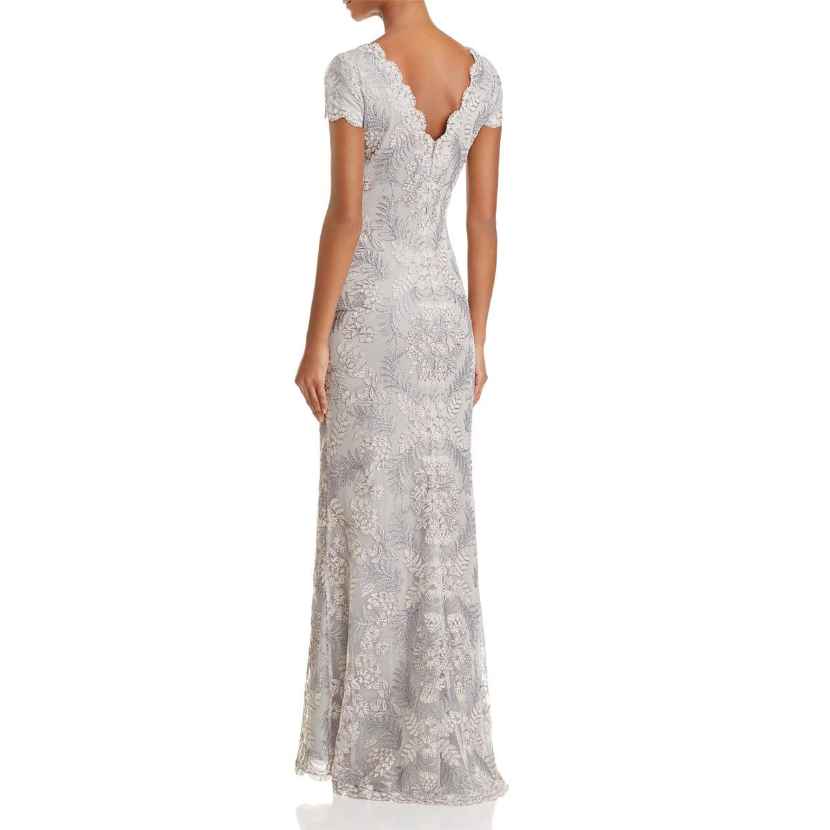 Tadashi Shoji Womens V-Neck Short Sleeves Gown Evening Dress BHFO ...