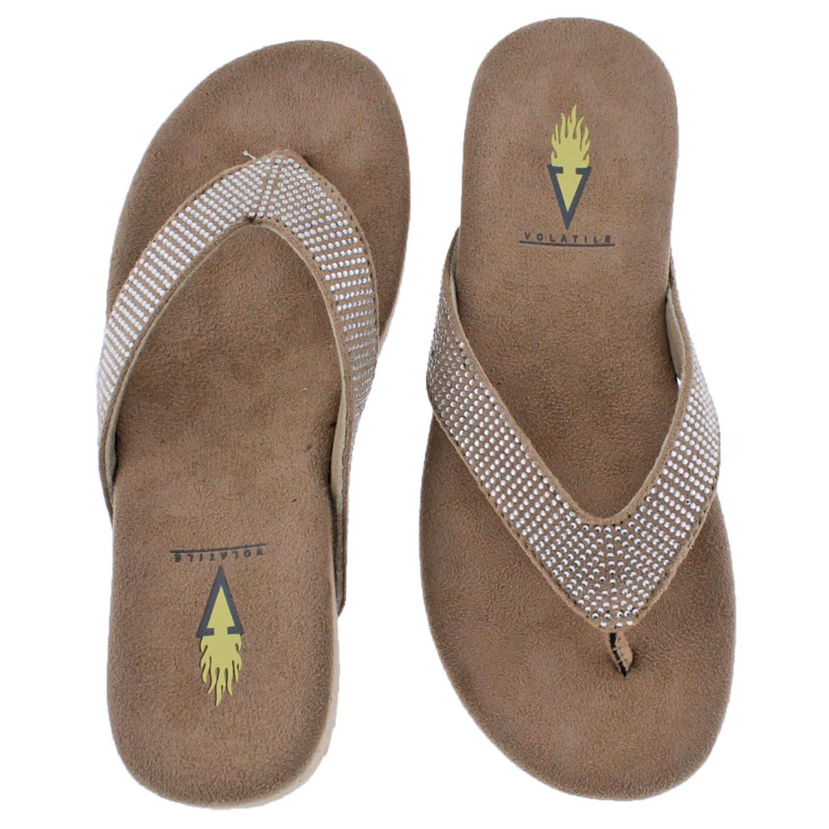af9be612f3 Volatile Jania Wedge Rhinestone Women s Flip Flop Wedge Sandals