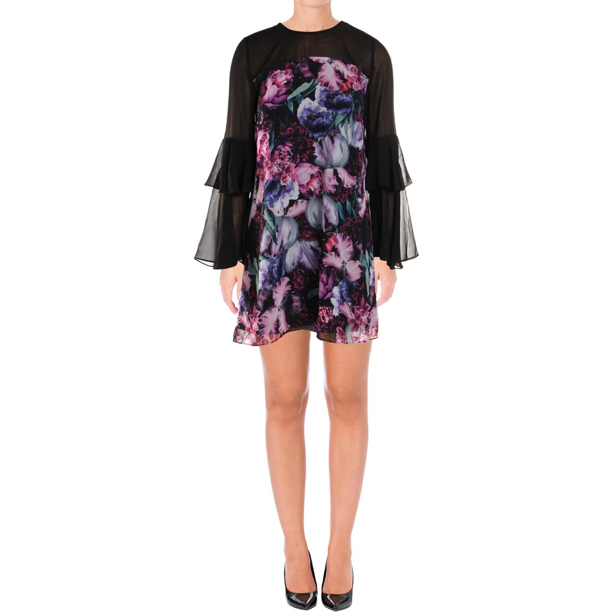 CeCe Womens Ruffled Floral Print Long Sleeve Party Dress BHFO 7762