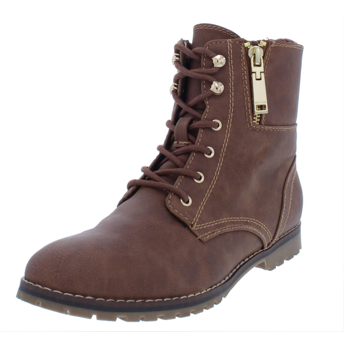 6aeacf281c47 Image is loading Tommy-Hilfiger-Womens-Minny2-Brown-Combat-Boots-Shoes-