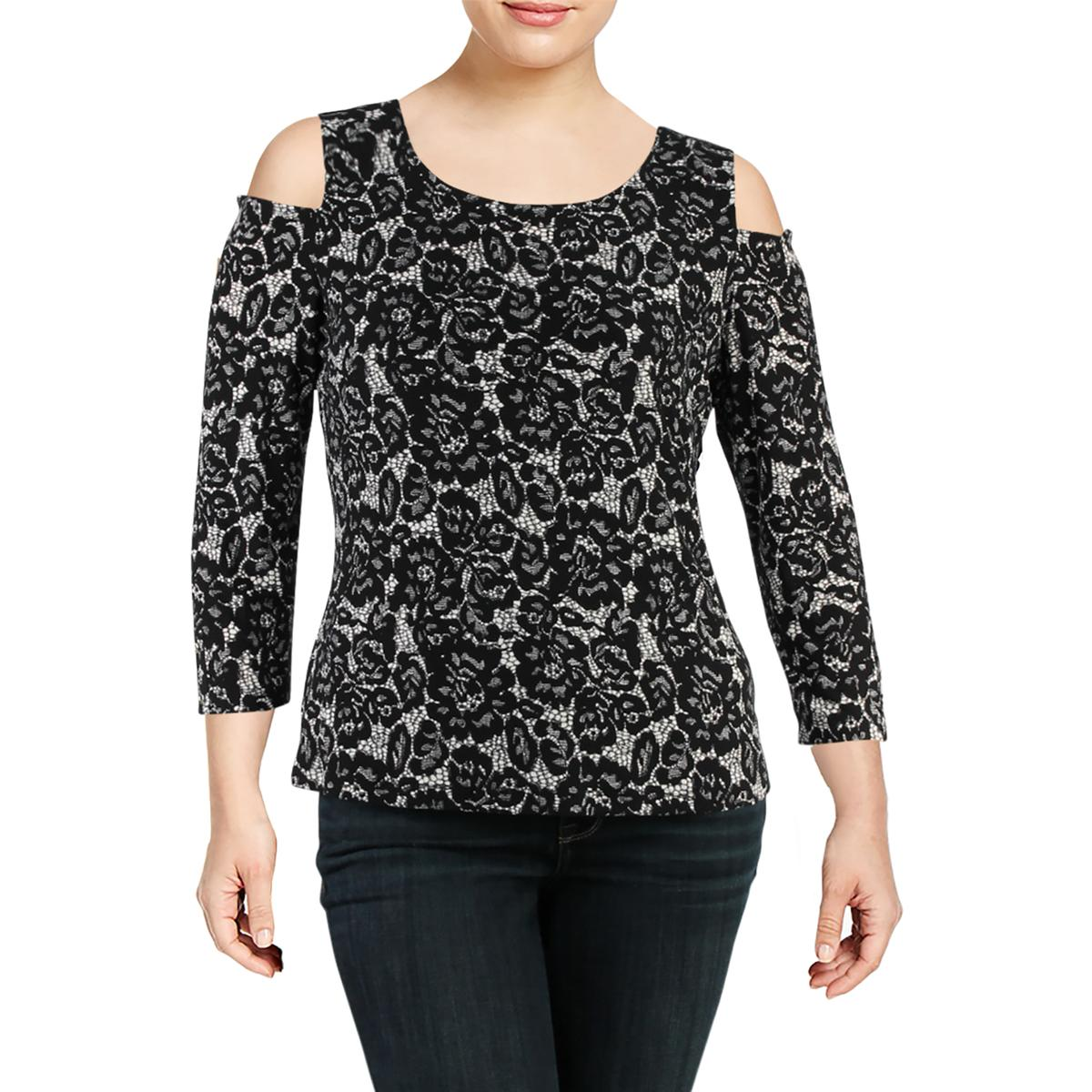 5b39ad3a840b9 Details about Tommy Hilfiger Womens Cold Shoulder Lace Casual Casual Top  Shirt BHFO 9983