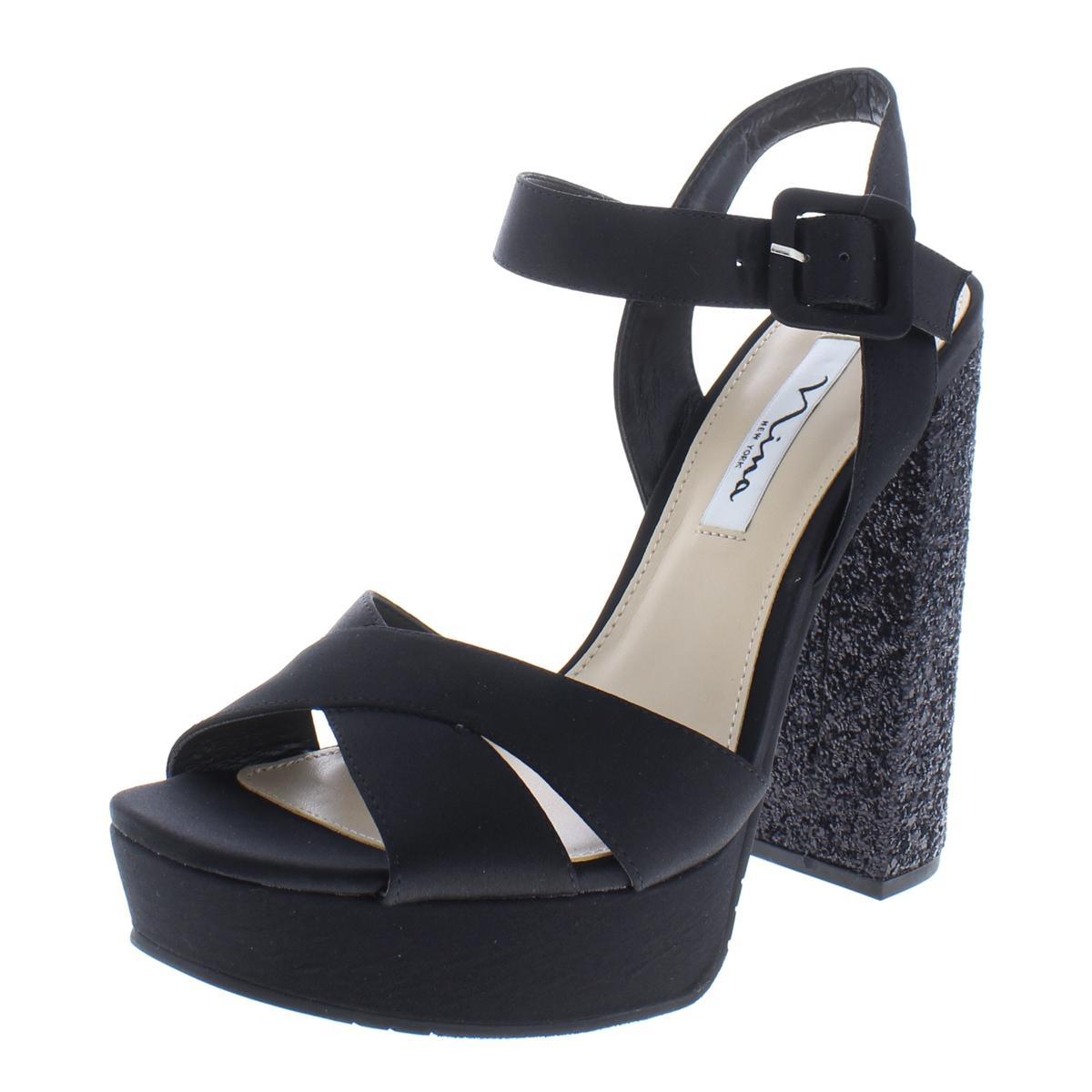 96ac020f10fd Details about Nina Womens Savita Black Satin Platform Sandals Shoes 11  Medium (B