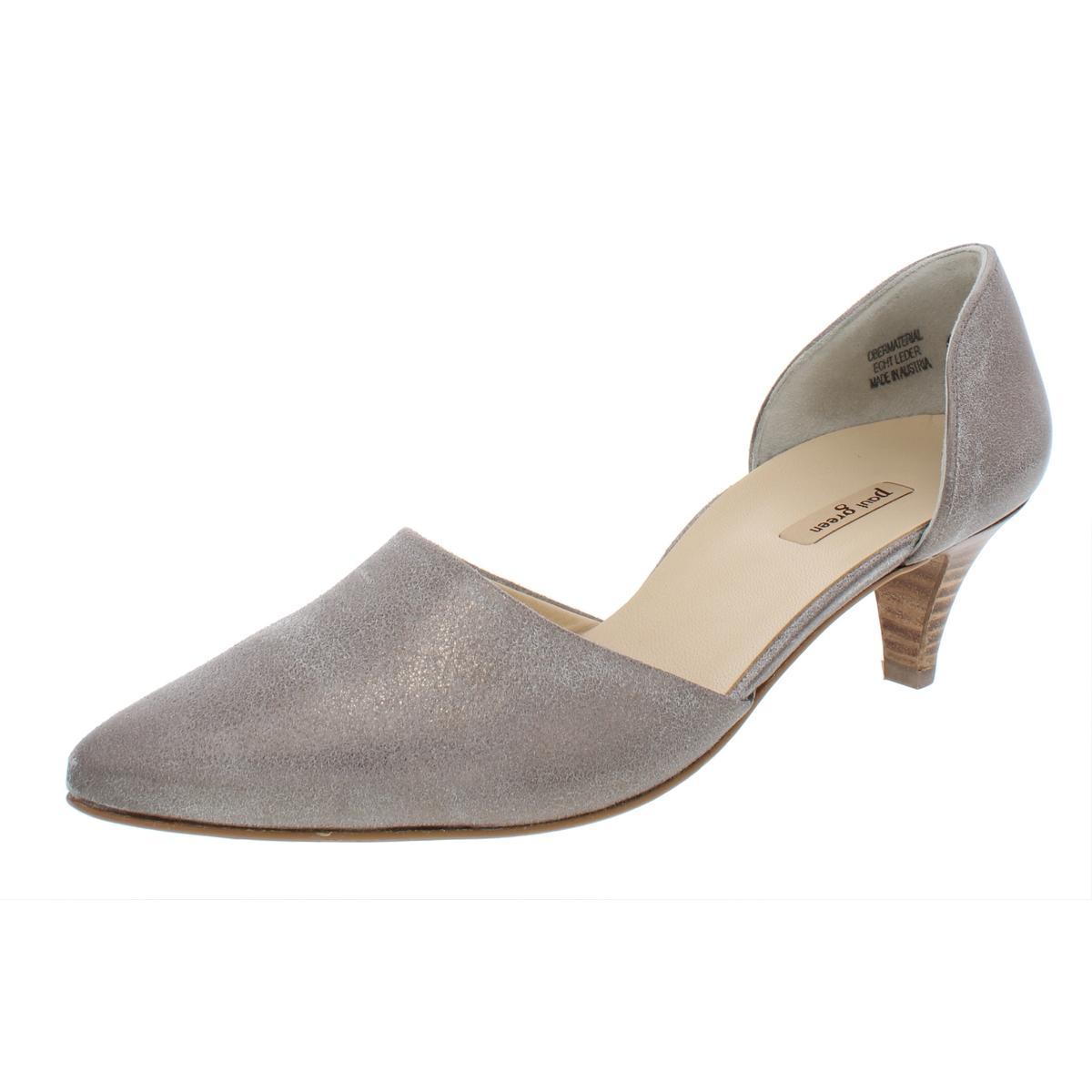 d25e246568 Details about Paul Green Womens Julia Metallic Leather Kitten Heel Pumps  Shoes BHFO 2902