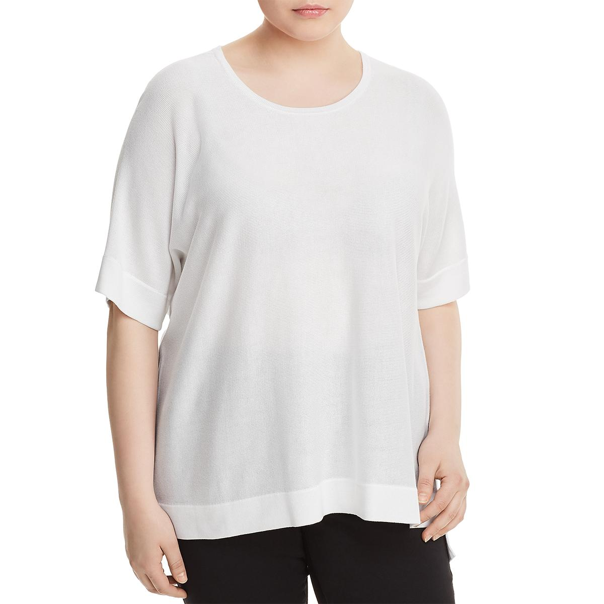 be1448e2ead Details about Eileen Fisher Womens Silk Step Hem Pullover Sweater Top Plus  BHFO 3952