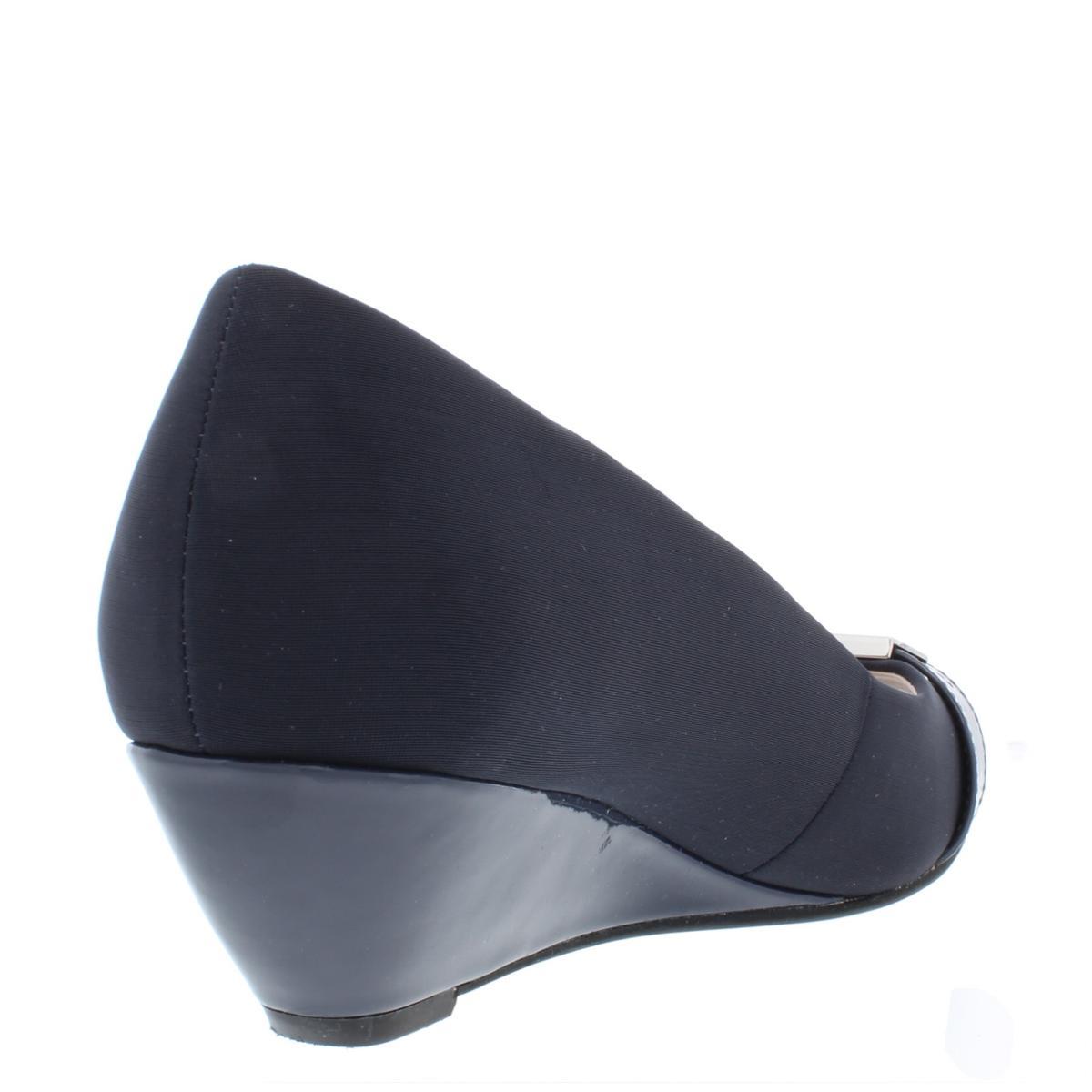 Alfani-Womens-Chorde-Patent-Open-Toe-Pumps-Wedge-Heels-Shoes-BHFO-9351 thumbnail 4