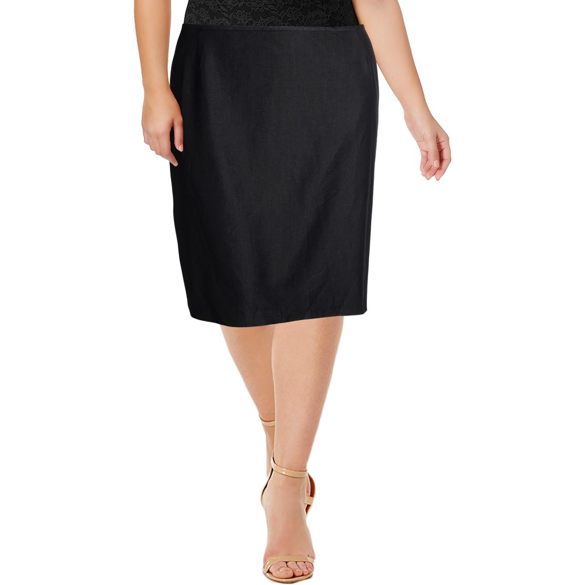 8700d7dc8f3 Details about Tahari ASL Womens Blue Woven Office Straight Skirt Plus 18W  BHFO 2907