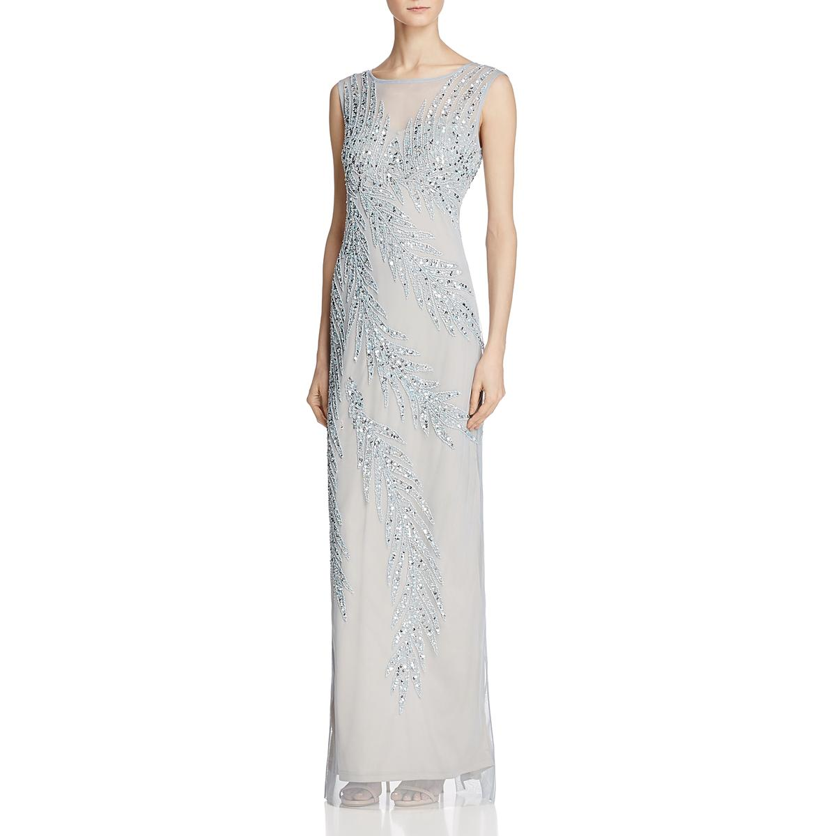 c3dc191e9091c5 Details about Adrianna Papell Womens Blue Beaded Illusion Evening Dress Gown  8 BHFO 0432
