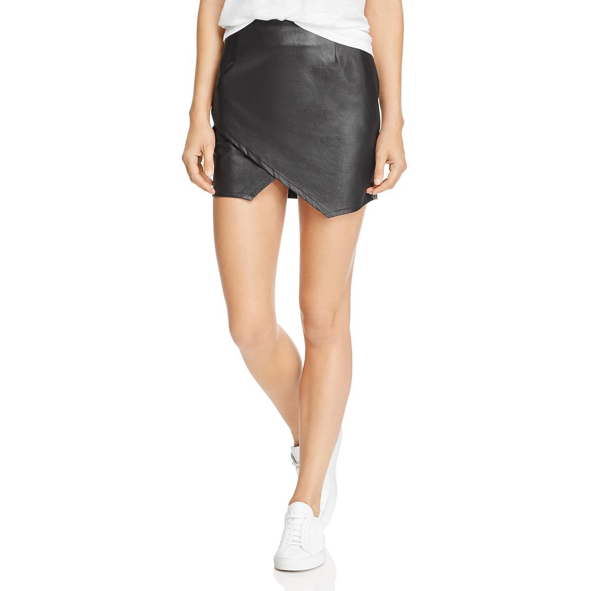 3e94484d74 Details about Splendid Womens Black Faux Leather Mini Asymmetric Wrap Skirt  M BHFO 6059