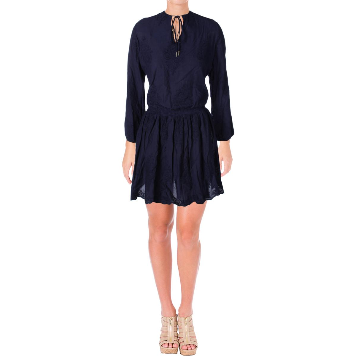 Tommy-Hilfiger-Womens-Embroidered-Peasant-Knee-Length-Casual-Dress-BHFO-0848