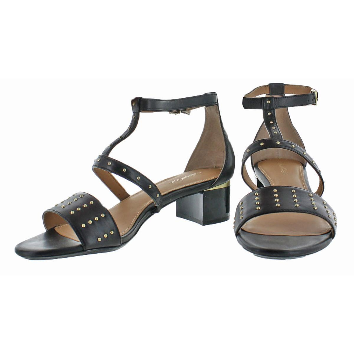 Calvin-Klein-Divina-Women-039-s-Open-Toe-Studded-Block-Heel-Shoes thumbnail 4