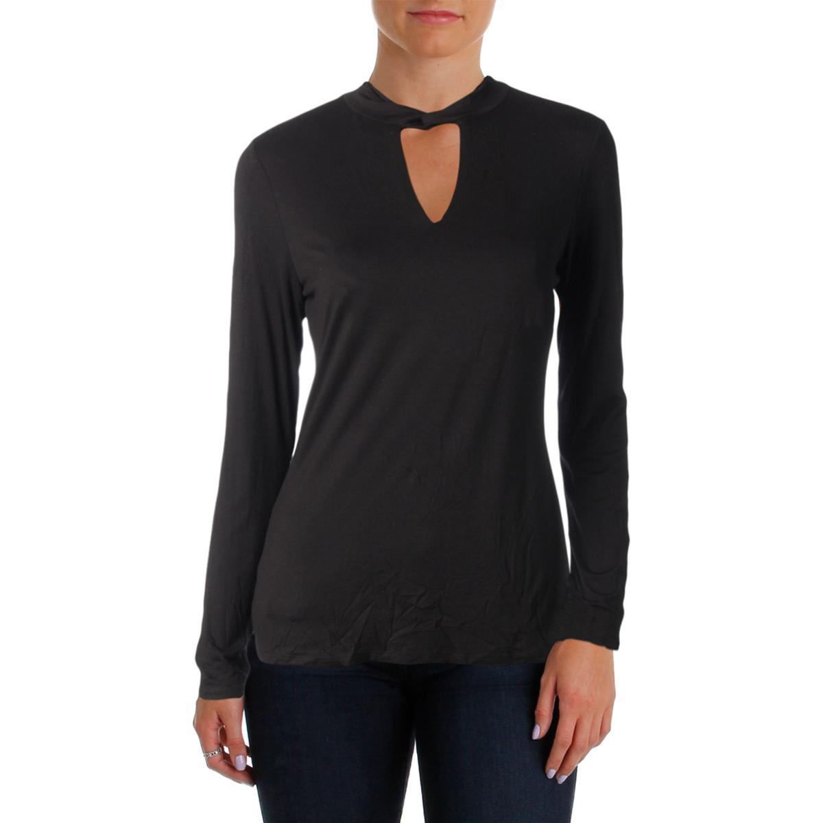 e684017df Details about INC Womens Black Mock Neck Lightweight Long Sleeves Casual  Top Shirt L BHFO 4465