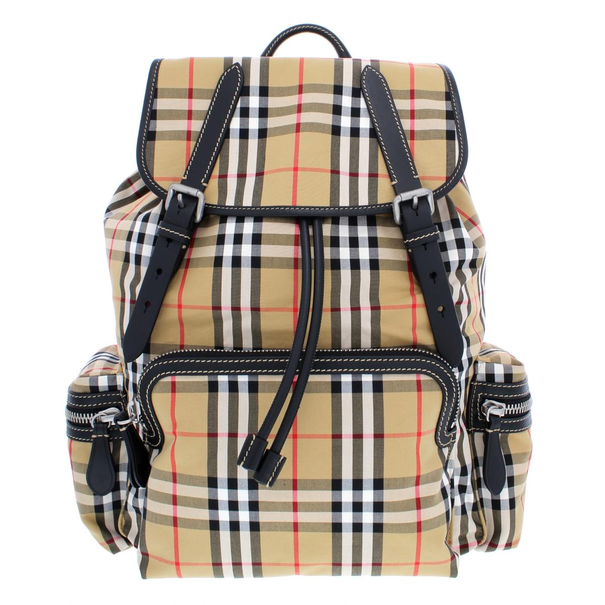 46f7e157b066 Details about Burberry The Medium Tan Vintage Check Rucksack Backpack O S  BHFO 8983