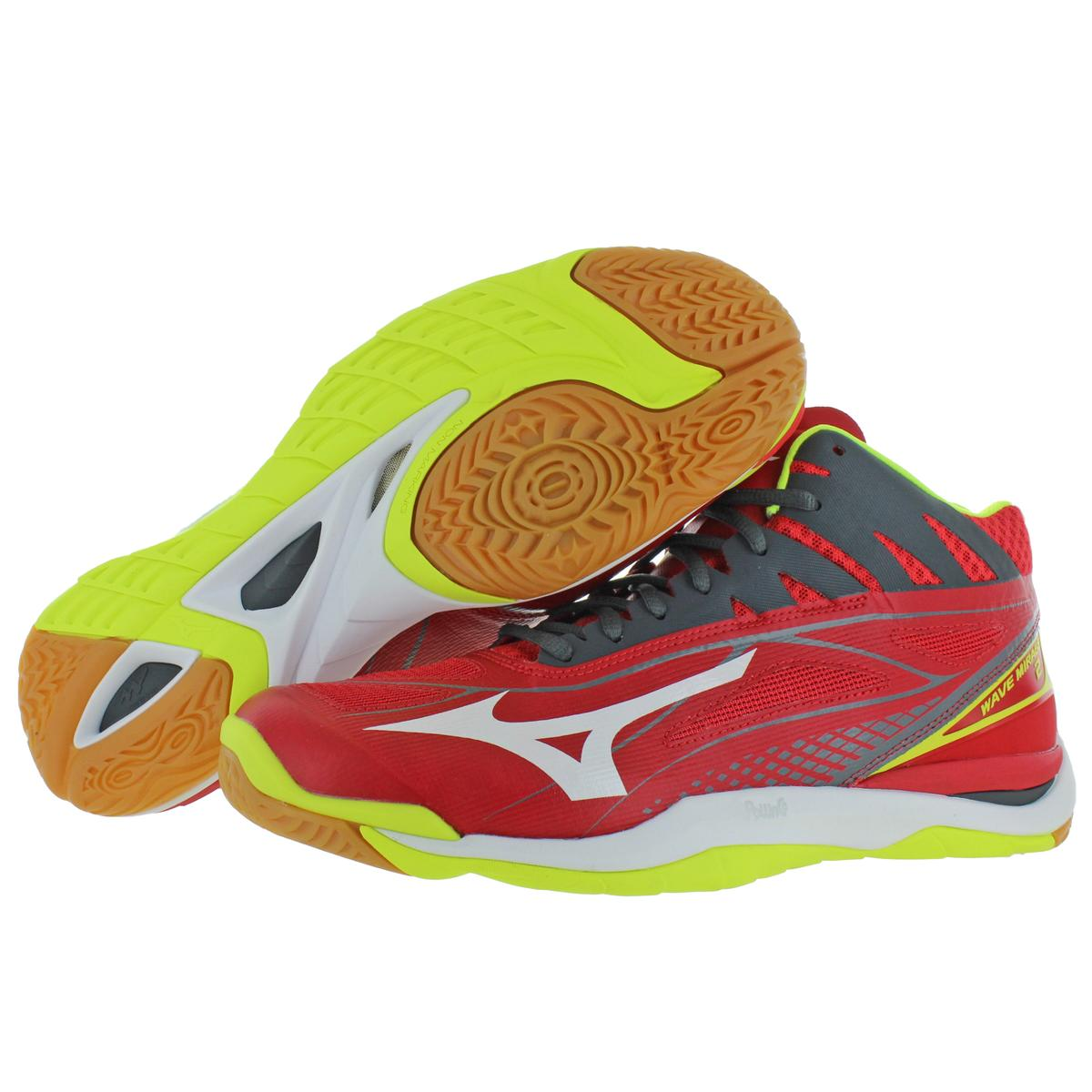 Mizuno-Mens-Wave-Mirage-2-Mid-Lace-Up-Mid-Top-Handball-Sneakers-Shoes-BHFO-9977 thumbnail 6