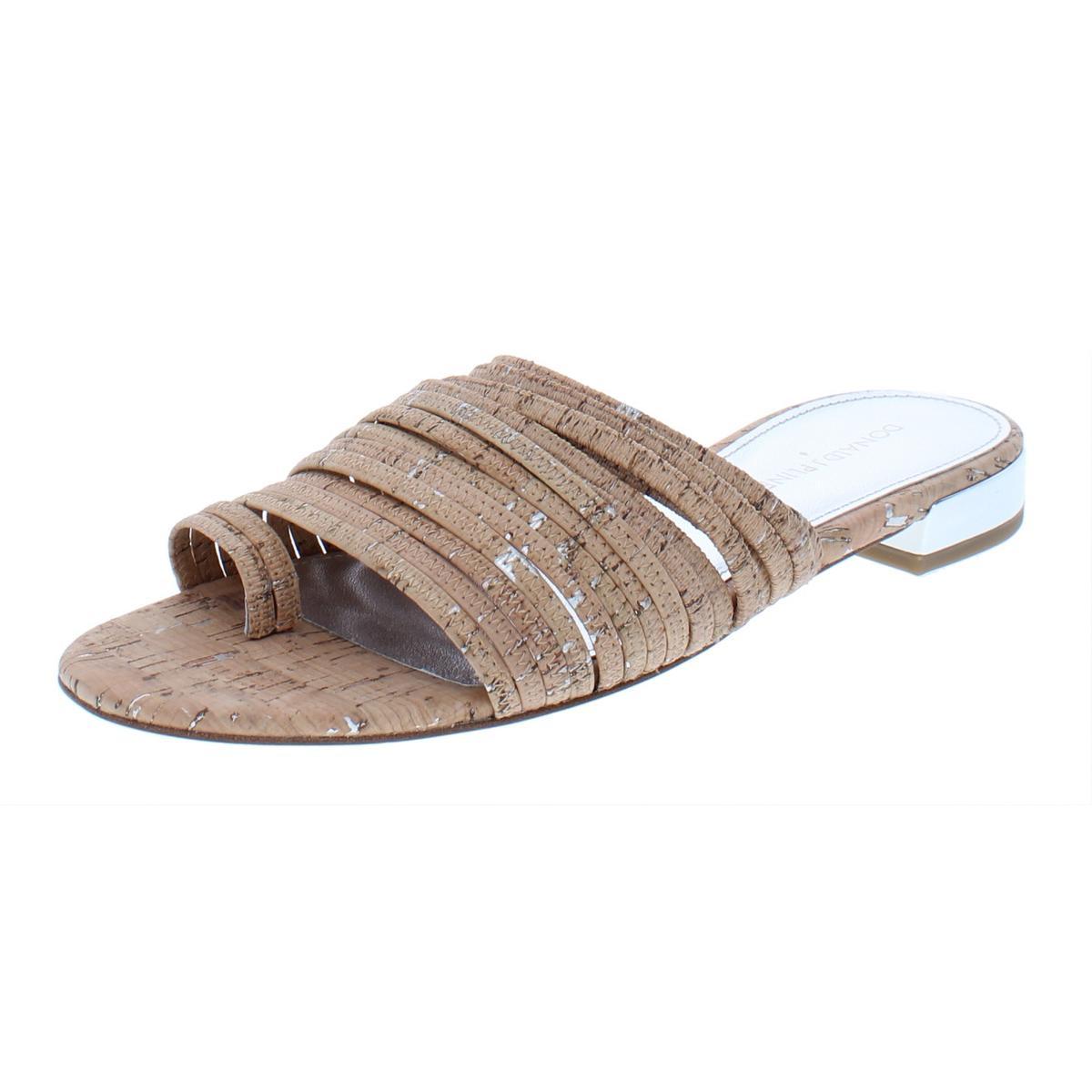 436bc51bff0 Details about Donald J. Pliner Womens Frea Tan Metallic Slide Sandals Flats  9.5 9 BHFO 9375