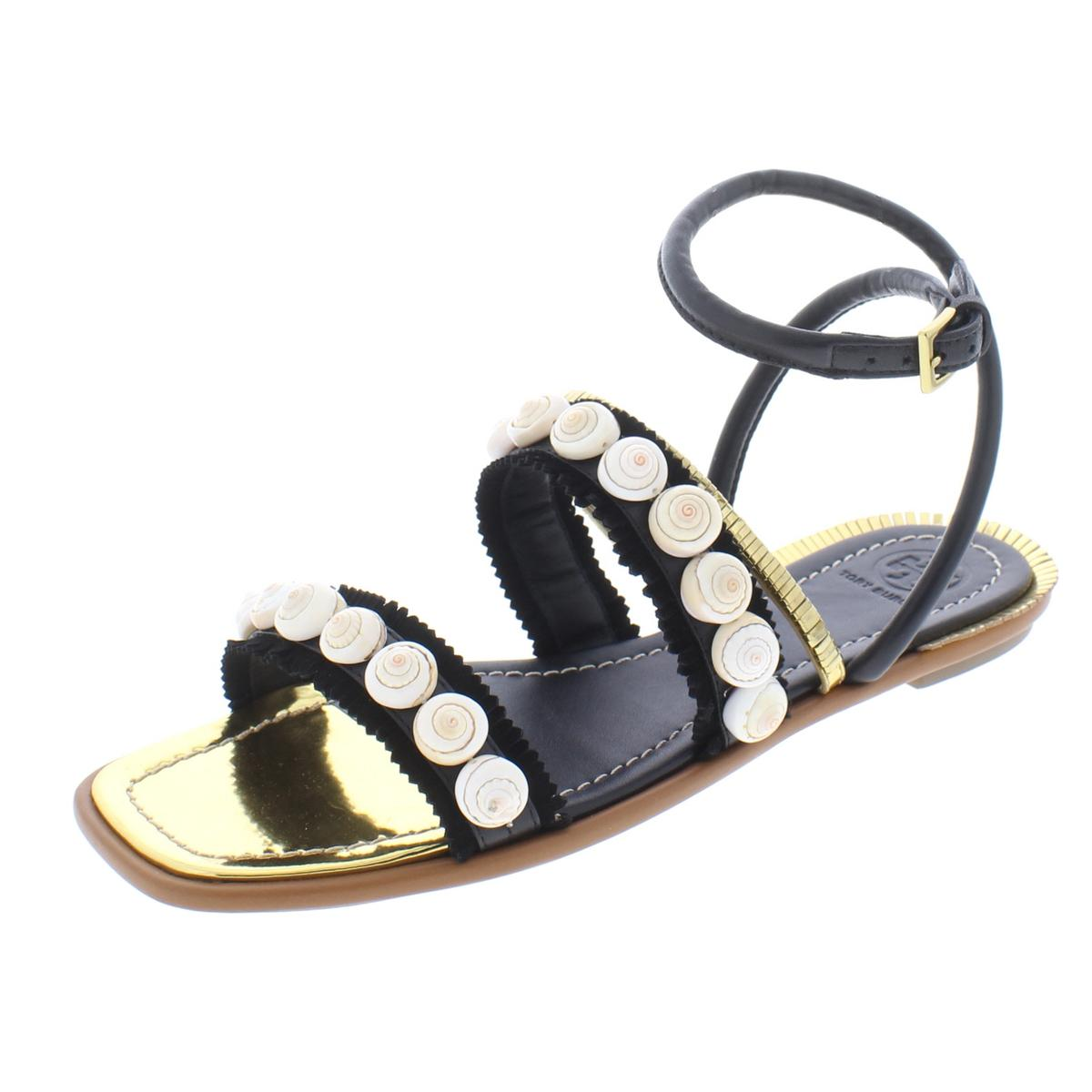 0319c9c0c9a58a Details about Tory Burch Womens Sinclair Black Flat Sandals Shoes 9 Medium  (B