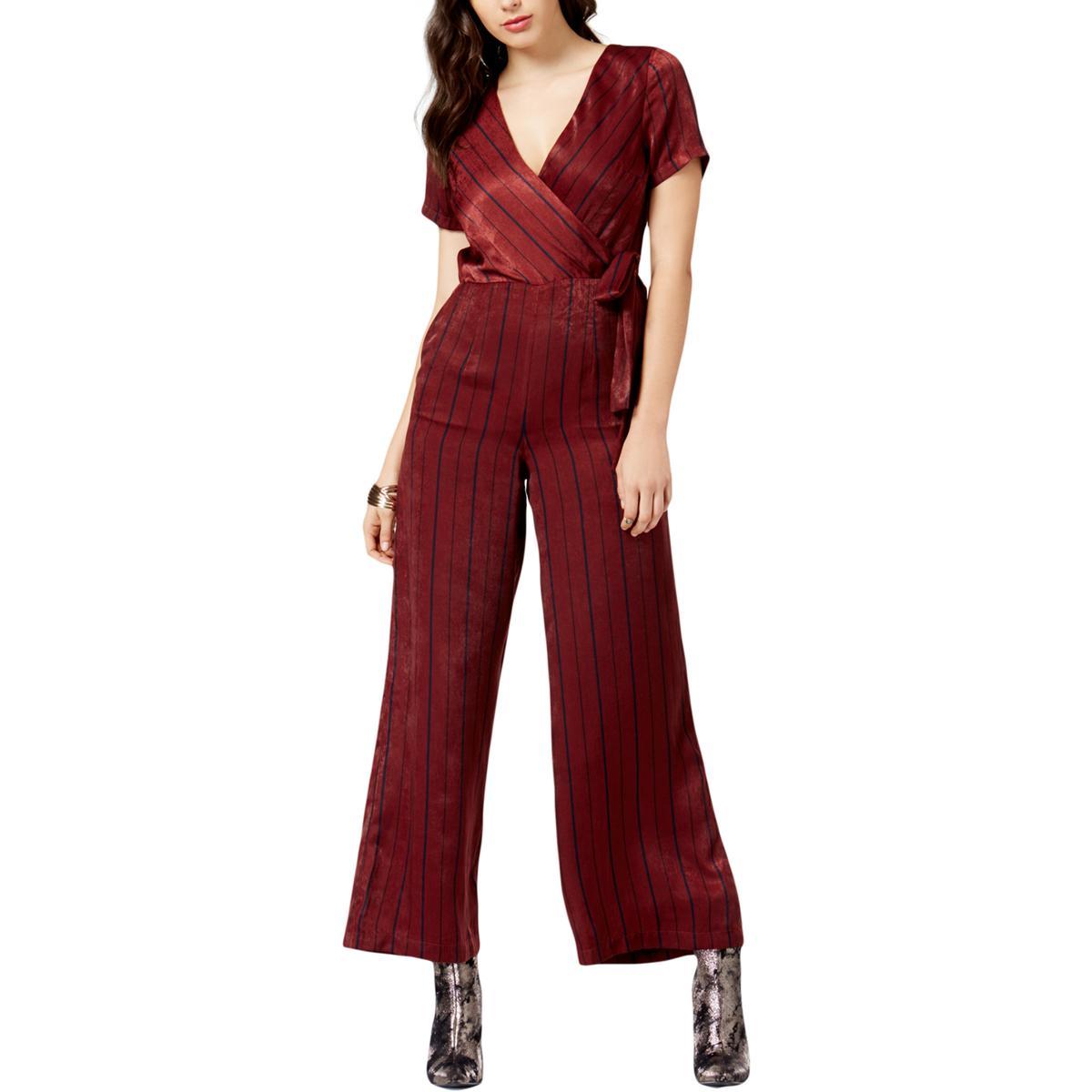 637102c921e1 Details about JOA Womens Red Striped Surplice Wide Leg Jumpsuit Juniors L  BHFO 0616