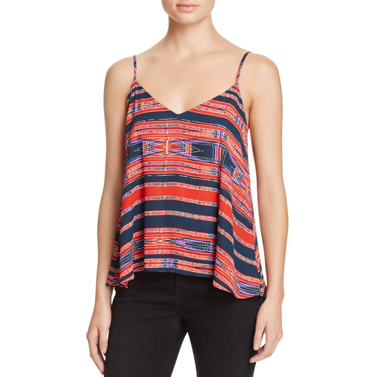 Aqua Womens Orange Chiffon Contrast Trim Camisole Top S BHFO 7526
