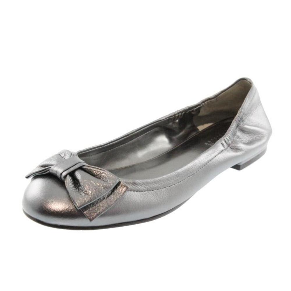 ralph lauren new evelia silver leather metallic bow ballet flats shoes 7 5 bhfo ebay. Black Bedroom Furniture Sets. Home Design Ideas