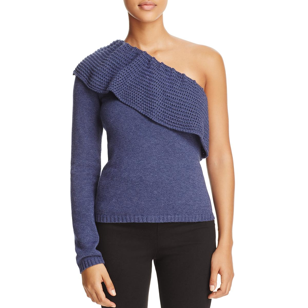 6fdf170cbc9 Details about Ella Moss Womens Loli Blue One Shoulder Ruffled Pullover  Sweater Top L BHFO 7784