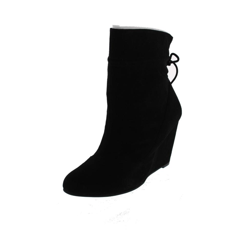 bcbg new wessy black suede ankle tie back wedge boots