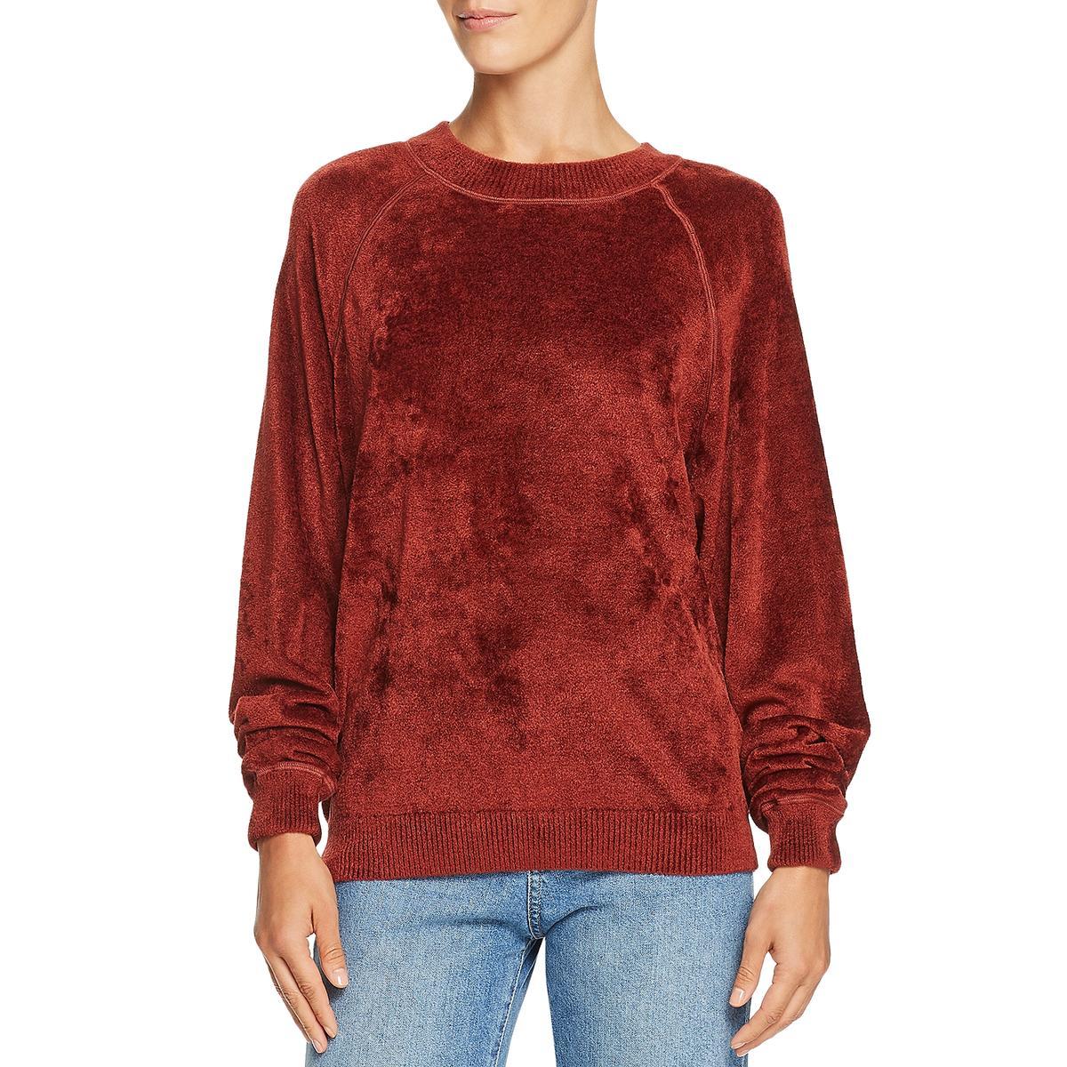 Elizabeth and James Womens Orange Luxery Velvet Sweatshirt Top L BHFO 8181
