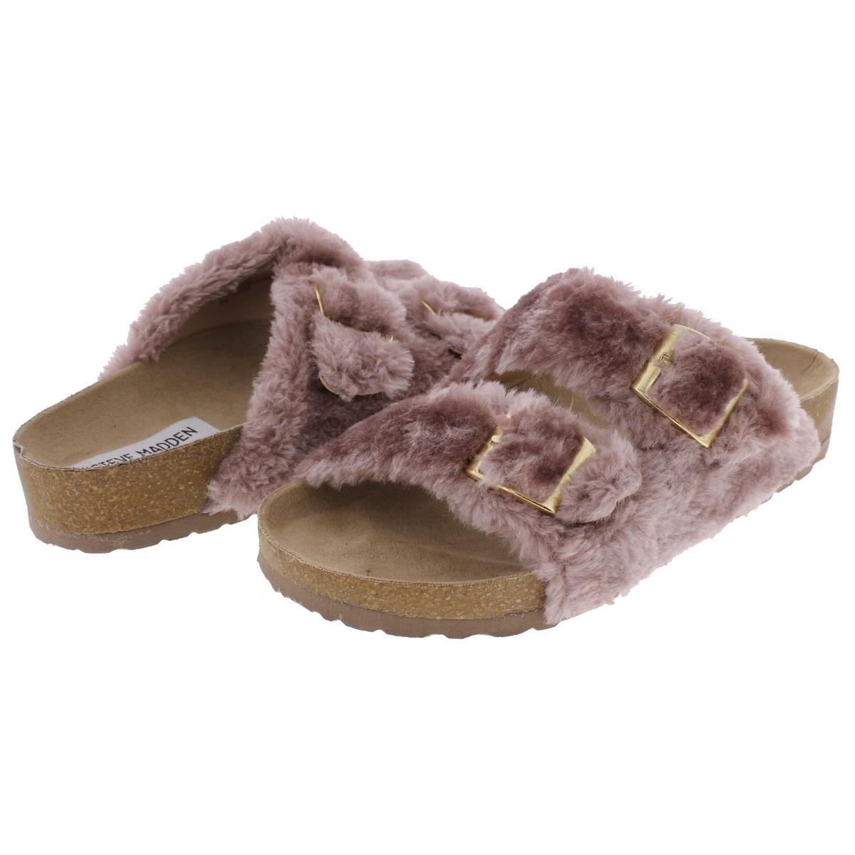7708b6c5efc Steve Madden Womens Soul Faux Fur Double Strap Slide Sandals Shoes ...