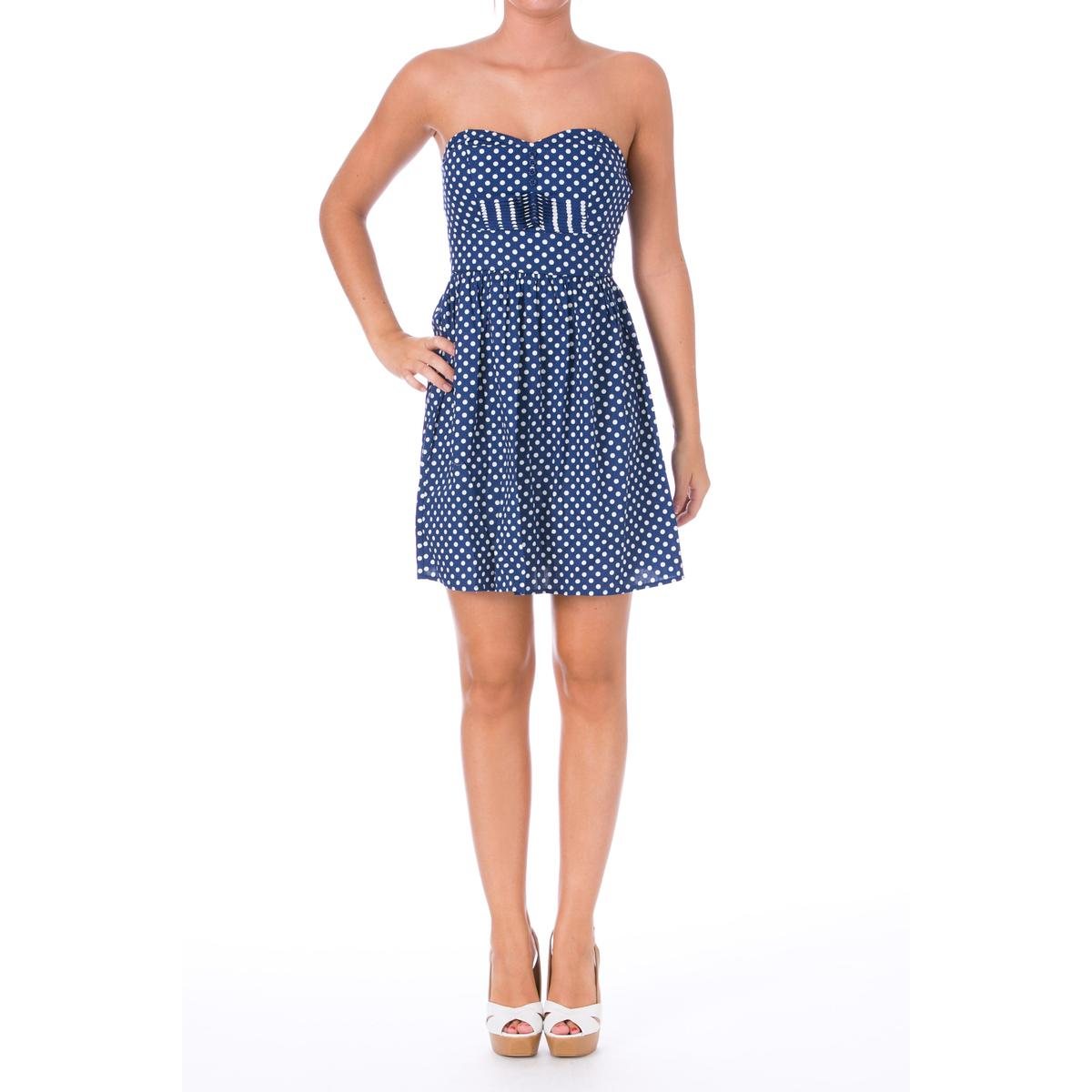 Be Bop 4966 Womens Polka Dot Pintuck Strapless Casual ...