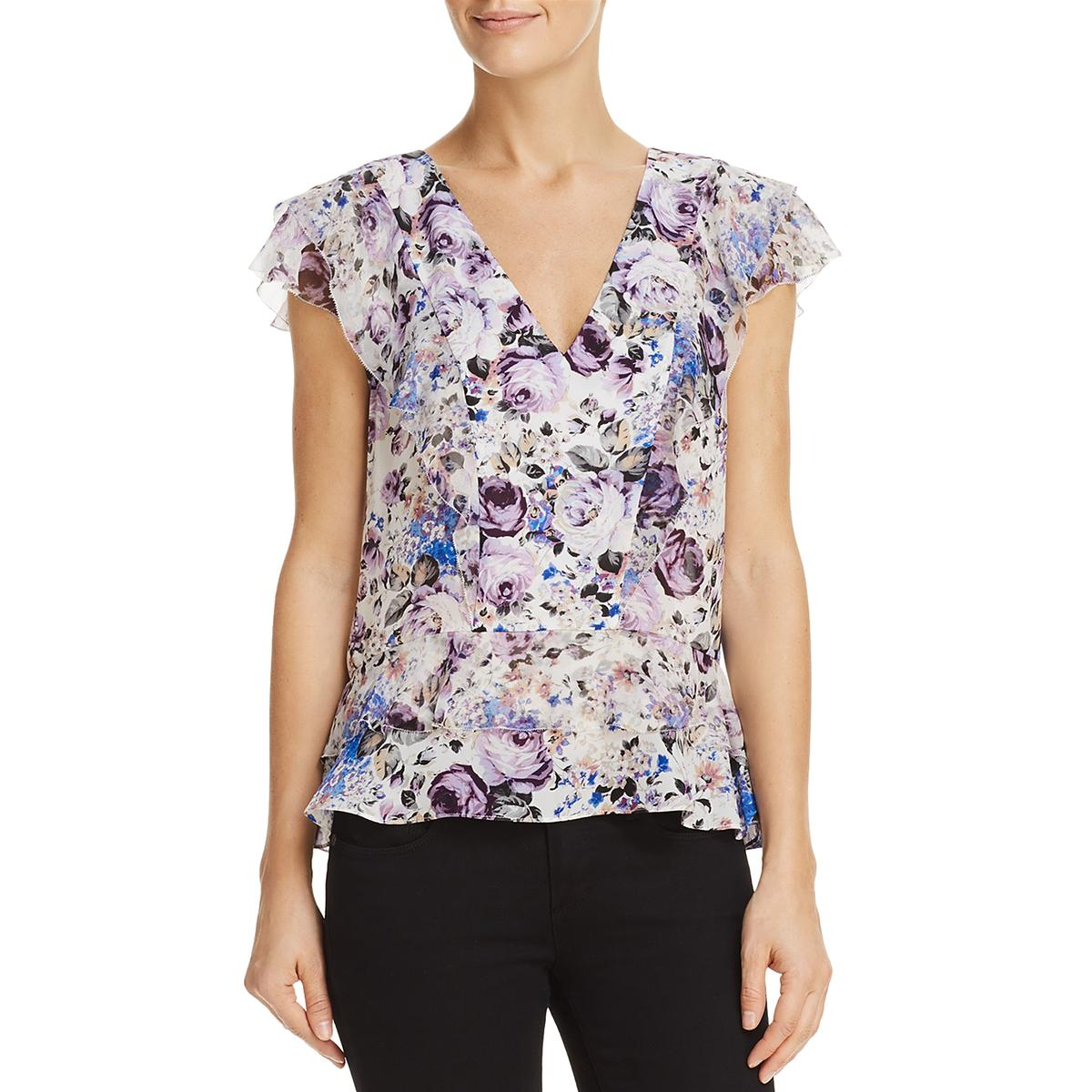 dd4fbee13a091 Details about Parker Womens Evelyn Silk Floral Print Cap Sleeves Blouse Top  BHFO 5605