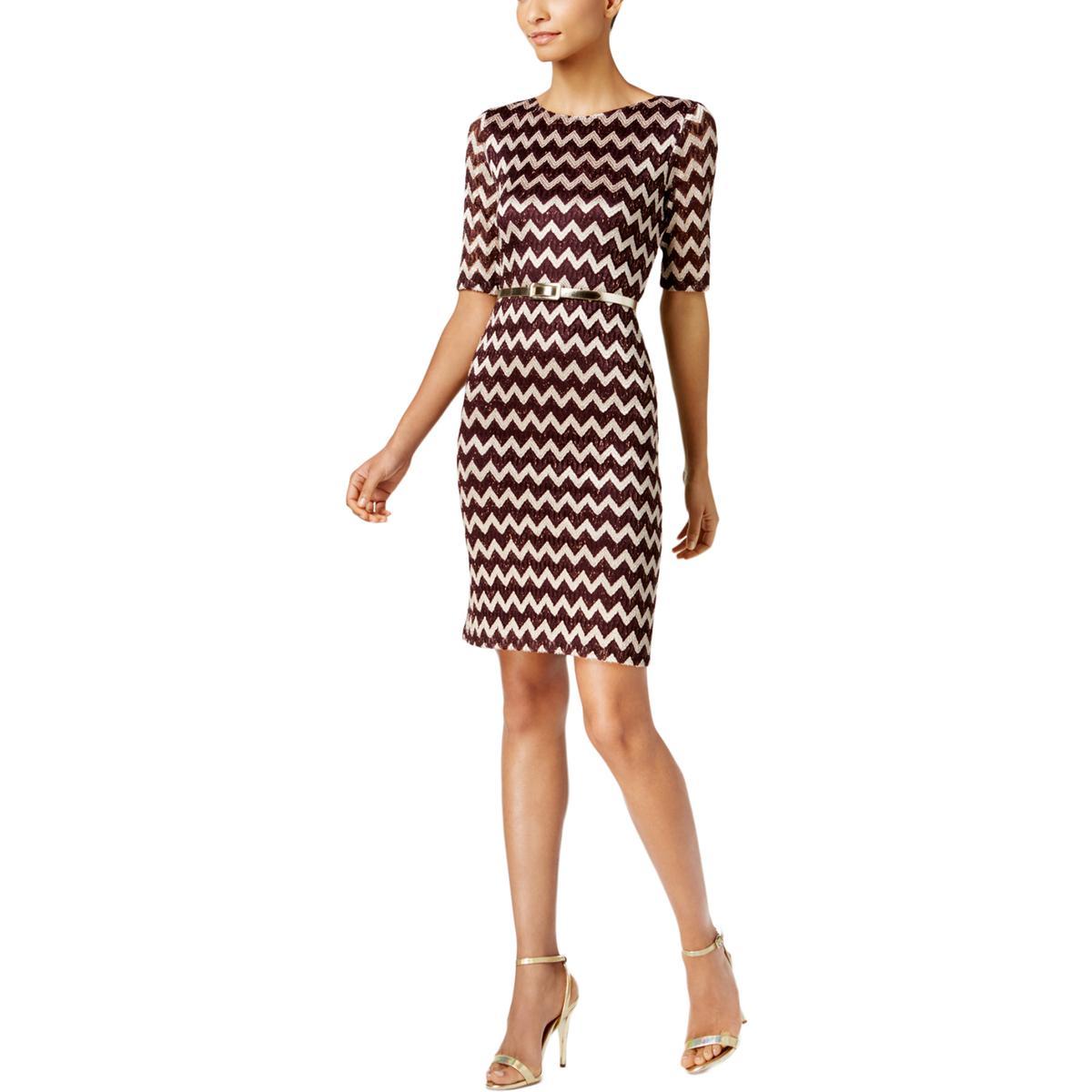 cdea4fe338228 Connected Apparel Womens Purple Lace Metallic Semi-formal Dress 14 ...