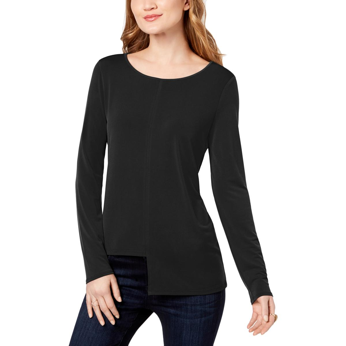 6cc44277825 Details about INC Womens Black Asymmetrical Long Sleeve Wide Neck Fitted Top  Shirt L BHFO 1054