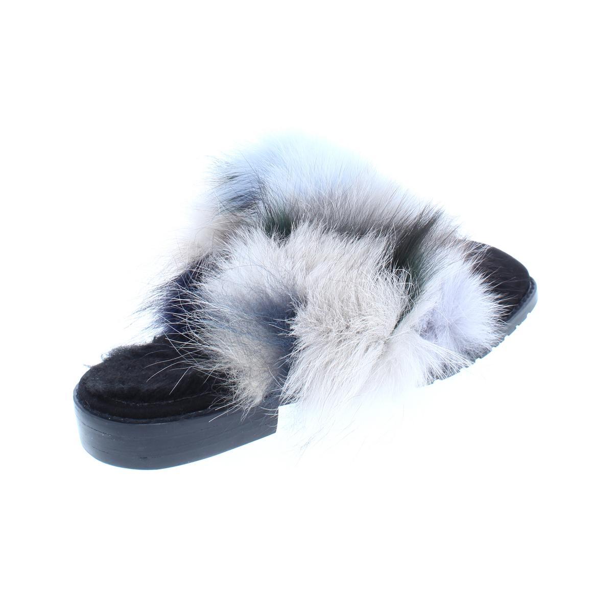 Stuart-Weitzman-Womens-Furgetit-Suede-Fox-Fur-Slide-Mules-Shoes-BHFO-8240 thumbnail 6