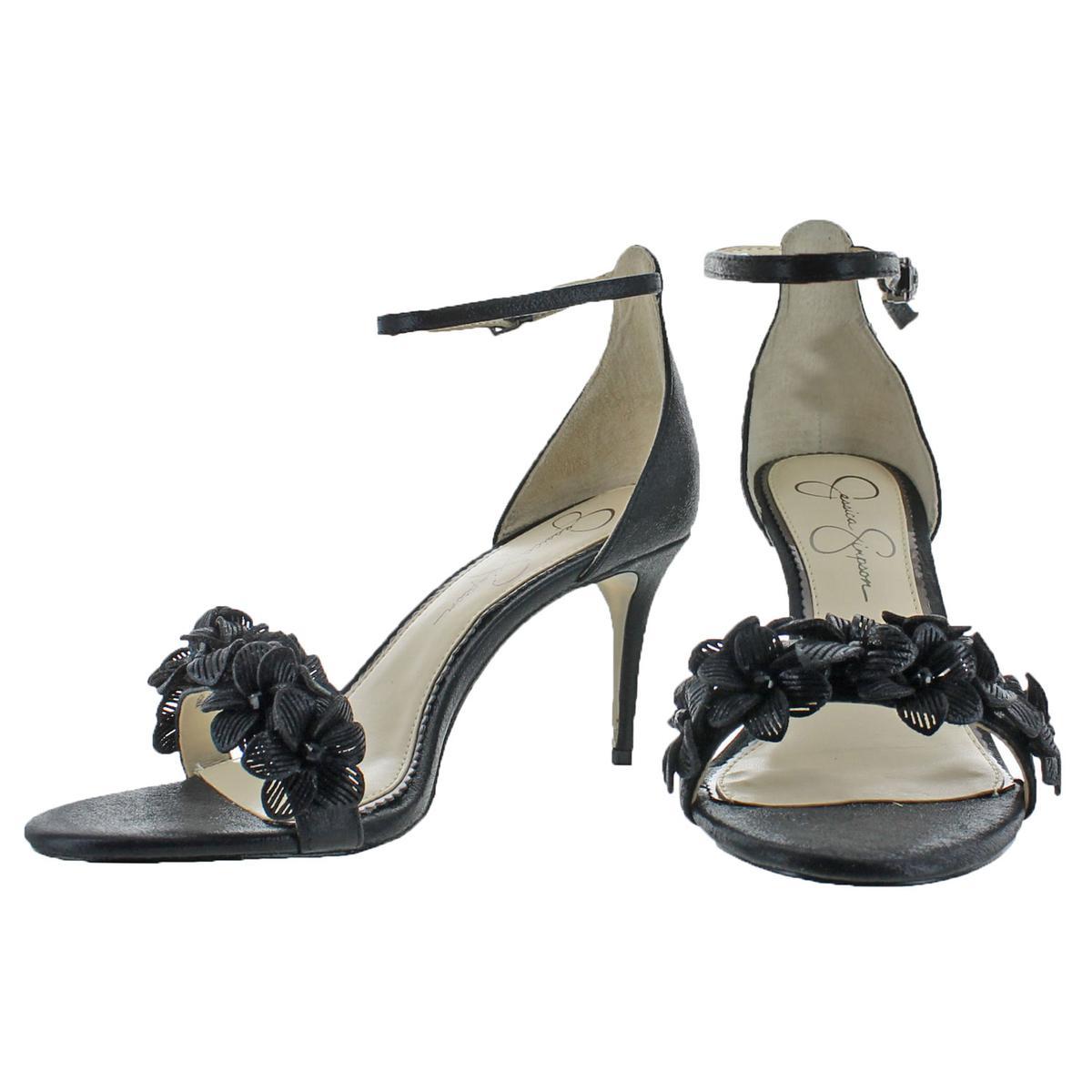 Jessica-Simpson-Pouline-Women-039-s-Shimmer-Floral-Heeled-Sandal-Buckle-Shoes thumbnail 4