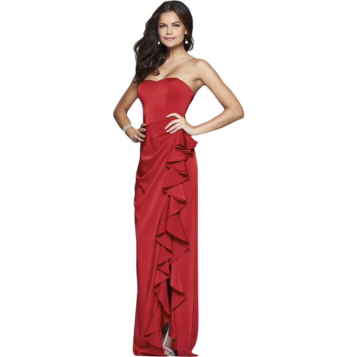 0545ac5653 Details about Faviana Womens Red Satin Prom Formal Evening Dress Gown 6 BHFO  3139