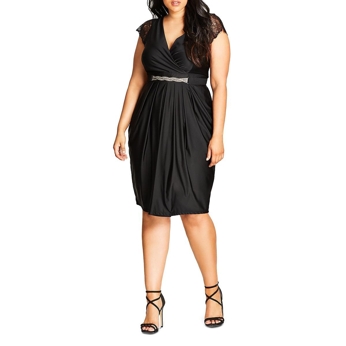 Details about City Chic Womens Black Flirty V-Neck Semi-Formal Dress Plus  22W XL BHFO 7337 5b6609cc6