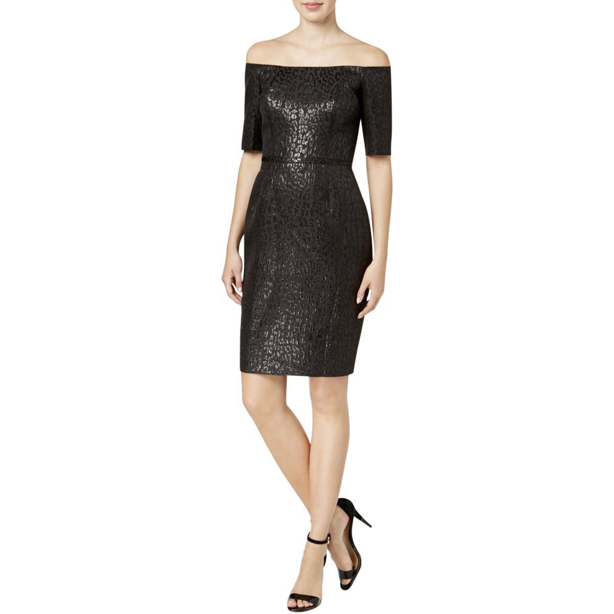 2d8fec954eb Details about Calvin Klein Womens Black Party Off-The-Shoulder Cocktail  Dress 2 BHFO 9003